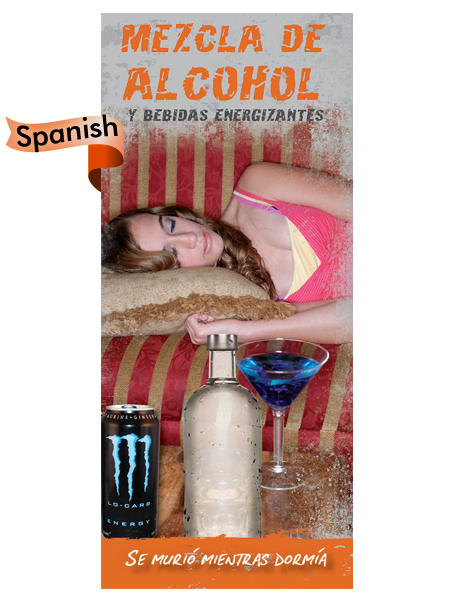 *SPANISH* Alcohol & Energy Drink Mixtures: Dead Asleep Pamphlet