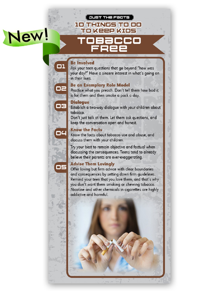 Just the Facts Rack Card: 10 Things To Do To Keep Kids Tobacco Free