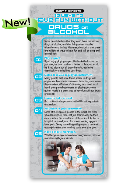 Just the Facts Rack Card: 10 Ways To Have Fun Without Drugs or Alcohol