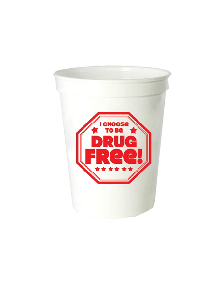 I Choose to Be Drug Free! 16oz. White Stadium Cup