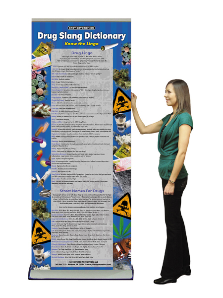Drug Slang Dictionary Retractable Banner w/Stand