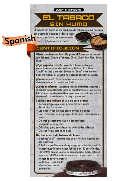 *SPANISH* Just the Facts Rack Card: Smokeless Tobacco