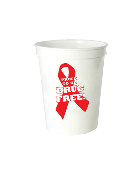 Proud to Be Drug Free! 16oz. White Stadium Cup