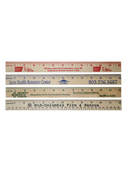 12 inch Natural Wooden Ruler - Custom Imprint