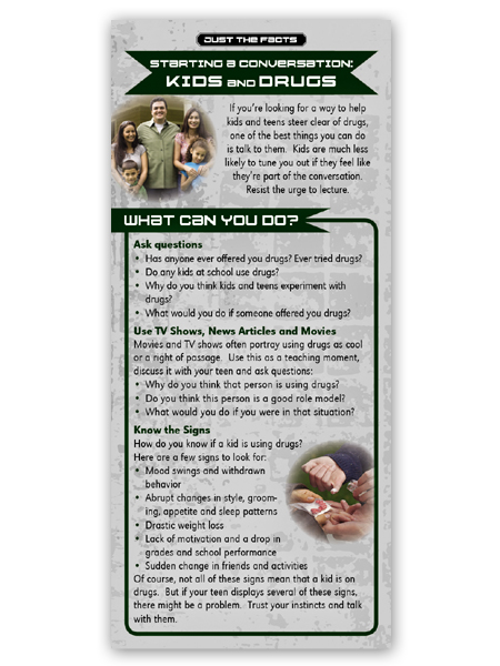 Just the Facts Rack Card: Starting a Conversation: Kids & Drugs