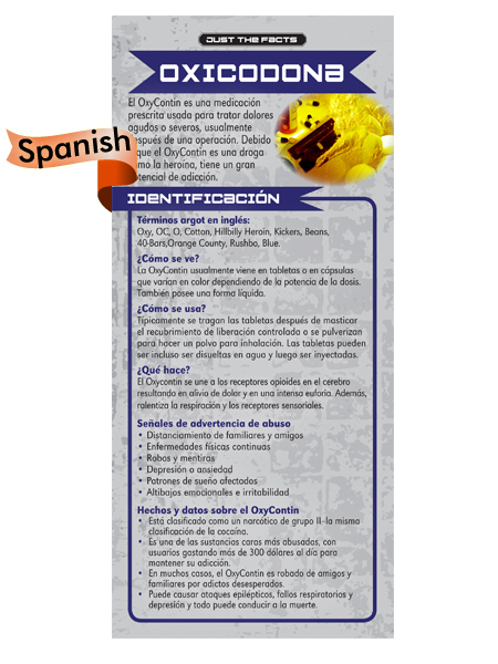 *SPANISH* Just the Facts Rack Card: Oxycontin
