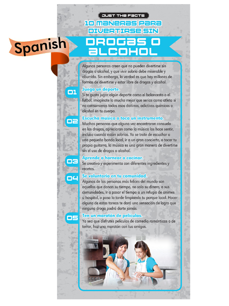 *SPANISH* Just the Facts Rack Card: 10 Ways To Have Fun Without Drugs or Alcohol