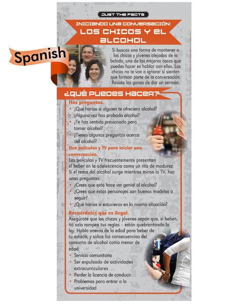 *SPANISH* Just the Facts Rack Card: Starting a Conversation: Kids & Alcohol