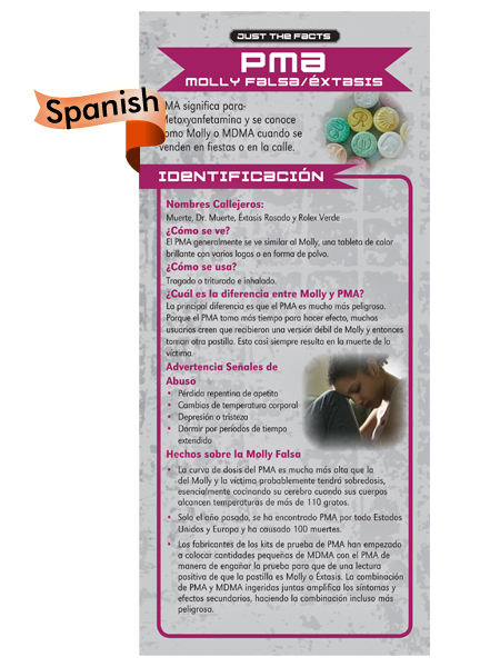 *SPANISH* Just the Facts Rack Card: PMA (Fake Molly/Ecstasy)