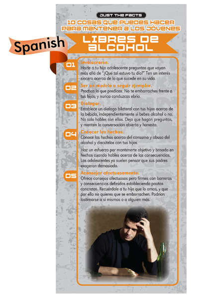*SPANISH* Just the Facts Rack Card: 10 Things To Do To Keep Kids Alcohol Free