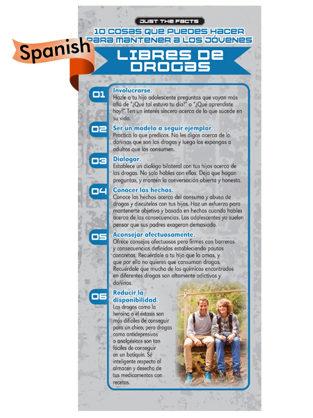 *SPANISH* Just the Facts Rack Card: 10 Things To Do To Keep Kids Drug Free