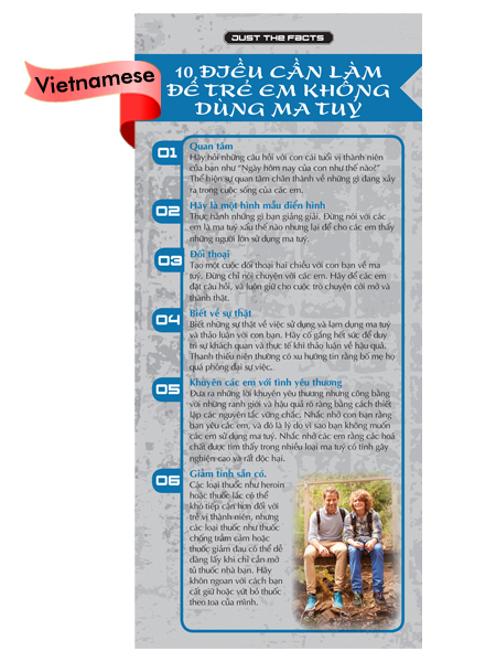 *VIETNAMESE* Just the Facts Rack Card: 10 Things To Do To Keep Kids Drug Free
