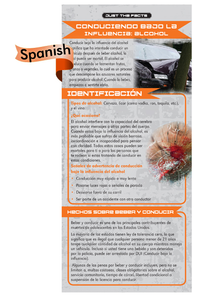 *SPANISH* Just the Facts Rack Card: Driving Under the Influence (Alcohol)