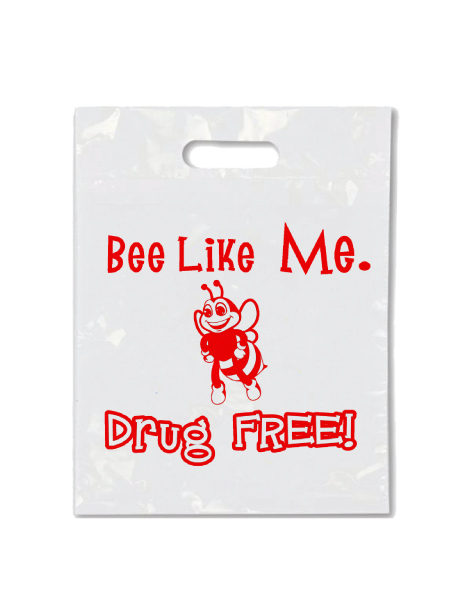 Bee Like Me Drug Free - Die Cut Handle Litter Bag