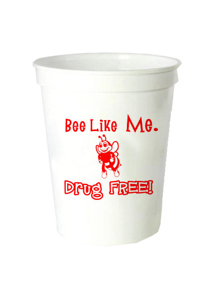 Bee Like Me Drug Free - 16oz. White Stadium Cup