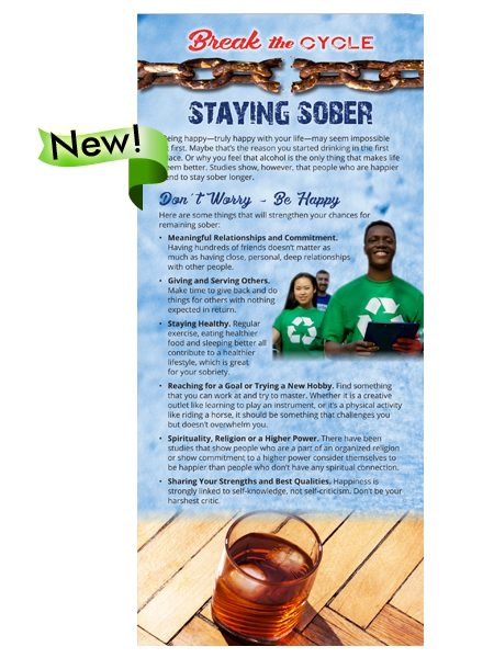 Break the Cycle Rack Card: Staying Sober