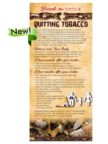 Break the Cycle Rack Card: Quitting Tobacco