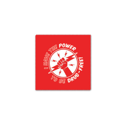 """I Have the Power to Be Drug Free Microfiber Cloth 3"""" x 3"""""""