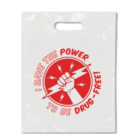 I Have the Power to Be Drug Free - Die Cut Handle Litter Bag
