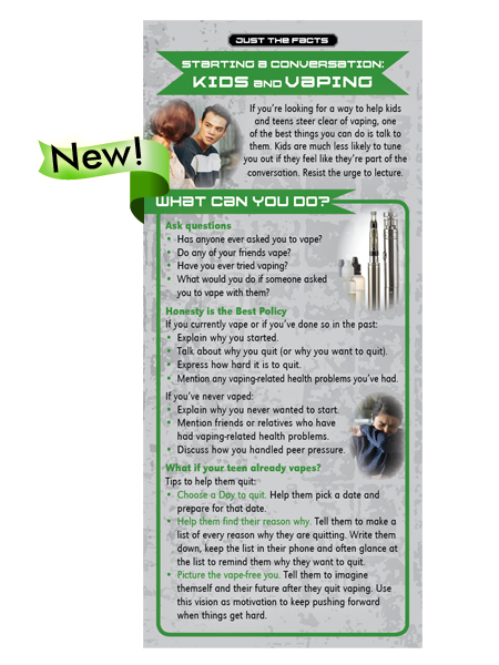 Just the Facts Rack Card: Starting a Conversation: Kids & Vaping